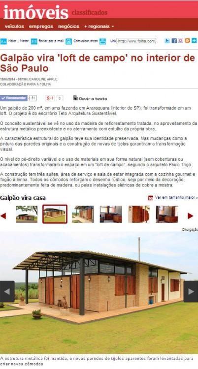 Folha de São Paulo | Imóveis | Classificados | Casas Incríveis | 13 de Julho de 2014