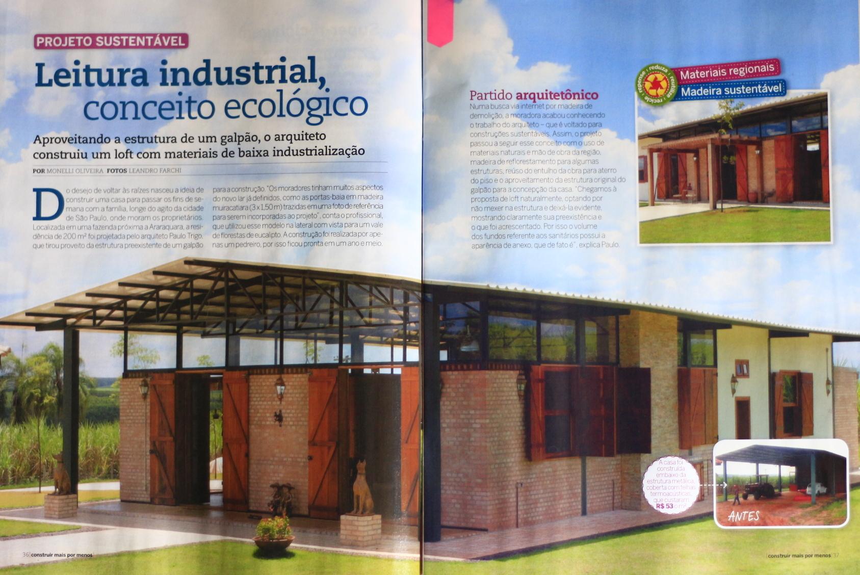 CASA GALPÃO (UM LOFT NO CAMPO) « TETO Arquitetura Sustentável e  #24446D 1687 1128