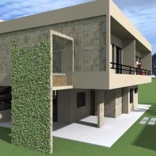Detalhe do banheiro com vista para o exterior e terraço dos dormitórios