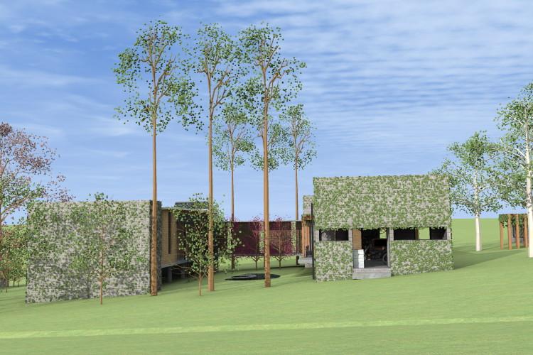 FACHADA NORTE_closet, lago e área de serviço|garagem protegem a casa da forte insolação