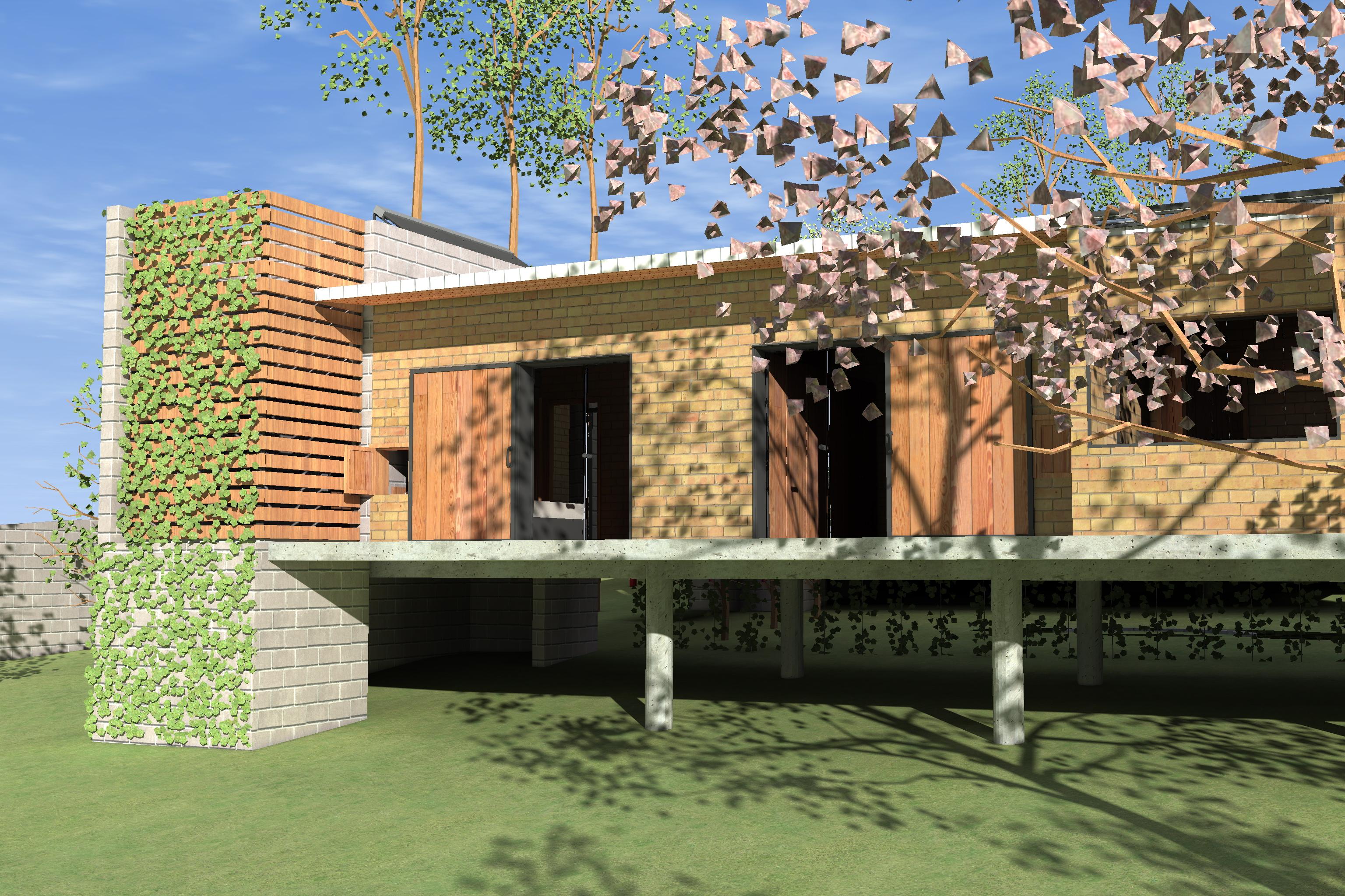 FACHADA OESTE detalhe da Torre Sul com banheiro externo e fechamento  #285CA3 3072x2048 Arquitetura Sustentavel Banheiro